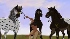Left to right Pepper, Shine, and Sun. Sun and Shine are twins. Spirit The Horse, Spirit And Rain, Horse Drawings, Animal Drawings, Spirit Drawing, Horse Animation, Horse Movies, Horse Story, Indian Horses