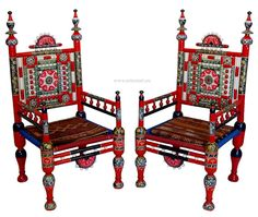 orientalische Hochzeit Lackware Punjabi Stuhl und von KabulGallery