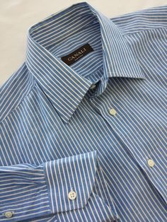Canali Shirt 15 1/2 Long Sleeve Blue & White Striped Made in Italy MINT Button #Canali #ButtonFront