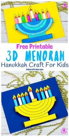 Celebrate Hanukkah with this lovely Hanukkah Menorah craft for kids. This Hanukkah craft is easy to make and comes with a free printable template. You can make static or removable flames so kids can either light the candles all at once or day by day. Creative Arts And Crafts, Paper Crafts For Kids, Craft Activities For Kids, Preschool Crafts, Fun Crafts, Classroom Crafts, Craft Ideas, Creative Kids, Classroom Activities