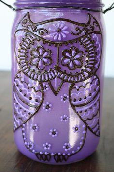 Owl Mason Jar Light, Outdoor Solar Light, Canning Jar Lantern, Mason Jar Lighting, Purple and Brown via Etsy: