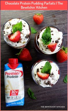 Chocolate Protein Pudding Parfaits | The Bewitchin' Kitchen #bewitchin #chocolate #kitchen #parfaits #protein #pudding Protein Desserts, Protein Smoothies, Good Protein Snacks, Protein Foods, Healthy Dessert Recipes, Healthy Protein, Ww Desserts, Low Carb Protein Shakes, Premier Protein Shakes