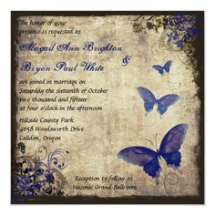 Royal Blue Vintage Butterfly Wedding Invitation Butterfly Wedding Theme, Butterfly Wedding Invitations, Fairytale Wedding Invitations, Quince Invitations, Wedding Postcard, Diy Wedding Favors, Vintage Wedding Invitations, Diy Wedding Decorations, Wedding Cards