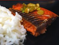 Japanese Broiled Salmon with Green Onion. Quick, easy, and low-fat, and serves four as a main course.