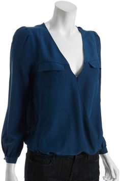 Joie Blue Silk Surplice Vneck Pocketed Istanbul Blouse