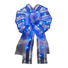 Meilo Creation 12 in. Ribbon Bow with Blue LED Lights-CT06-1317-36S-BL at The Home Depot