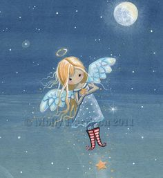 Little Star Angel - Original Acrylic Painting on Wood by Molly Harrison Fantasy Art Angel Illustration, Angel Artwork, Angel Guide, Acrylic Paint On Wood, Angel Drawing, I Believe In Angels, Dibujos Cute, Angel Cards, Happy Paintings