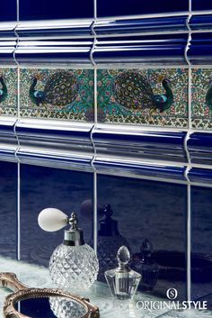 The Arts & Crafts movement of the 1800s inspired these William De Morgan Peacock tiles from the Artworks Range by Original Style. These glazed decorative tiles team perfectly with Royal Blue in any bathroom.