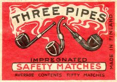 Three Pipes Safety Matches #Tobacco #Pipe #Smoking