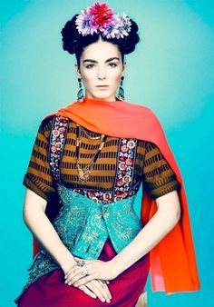 Fashion frida style portrait   #Fashion frida style colorful fashion orange blue flower hair style creative portrait