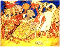 """Mikhail Larionov. A Group of Dancers and a Mask on the Floor. 1915. Design for ballet """"Midnight Sun"""". Music from opera """"Snow-Girl"""" by N.Rimsky-Korsakov. Producer L.Miasin, S.Diagilev's enterprise (Grand Theatre, Geneva, 1915). Watercolor, pencil on paper, 63.3x78.6 cm. Collection of N.&N.Lobanov-Rostovsky's, London."""