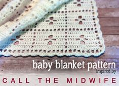 Call the Midwife Inspired Baby Blanket, free pattern by Little Monkeys Crochet ~afghan ~throw Filet Crochet, Baby Afghan Crochet, Crochet Blanket Patterns, Crochet Yarn, Crochet Stitches, Crochet Blankets, Baby Afghans, Call The Midwife, Baby Knitting