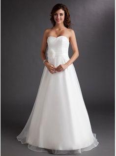 A-Line/Princess Sweetheart Floor-Length Organza Satin Wedding Dress With Ruffle Flower(s) (002016728) - JJsHouse