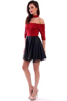 4e1f0a2e6b Sukienka skórzana choker bordowa od CosmosModa    kup teraz!    odzież  damska