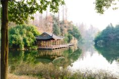 A secluded pagoda in West Lake, Hangzhou. #travel #quiet #park #pavilion #Hangzhou #WestLake #China