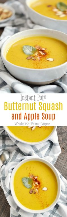 This Instant Pot Butternut Squash and Apple Soup is the perfect fall and winter soup for warming up and staying healthy! COPYRIGHT ©️️ 2017 COOKING WITH CURLS