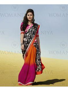 Black with Pink & Orange Embroidered Digital Print Saree