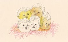 """""""Babies in a Red Nest"""" Check out more work by Marie Gardeski on ZIIBRA at https://www.ziibra.com/marie-gardeski/"""