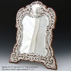 "Gorgeous Antique English Hallmarked Sterling Silver & Oak 14"" Vanity Mirror, Original Beveled Mirror"