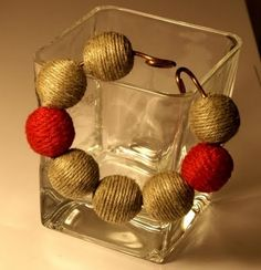 all natural. Wooden beads, wrapped with yarn or woved with thick thread