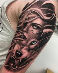 Tattoos, sleeve tattoos, tattoos for guys, tattoos for women, wolf tatt Wolf Tattoo Forearm, Wolf Girl Tattoos, Tattoo Arm Frau, Wolf Tattoo Sleeve, Sleeve Tattoos For Women, Tattoo Sleeve Designs, Tattoo Designs For Women, Tattoos For Guys, 10 Tattoo