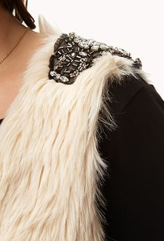 Glam Embellished Faux Fur Vest