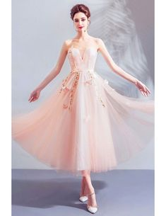Fairy Butterfly Tulle Tea Length Party Dress Off Shoulder Wholesale #T69021 - GemGrace.com Girls Bridesmaid Dresses, Prom Dresses, Formal Dresses, Tea Length Dresses, Off The Shoulder, Ball Gowns, Party Dress, Tulle, Fairy