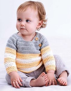 Baby pullover crochet pattern