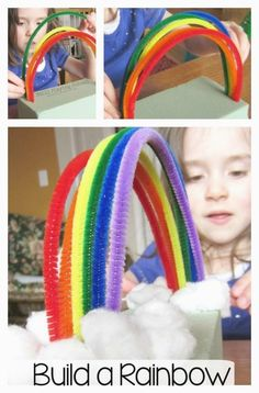 Kids build a pipe cleaner rainbow to work on colors and fine motor skills! Kids build a pipe cleaner rainbow to work on colors and fine motor skills! Toddler Crafts, Diy Crafts For Kids, Art For Kids, Craft Ideas, Creative Crafts, Toddler Activities, Preschool Activities, Time Activities, St Patricks Day Crafts For Kids