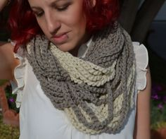 Neutral tones chunky crocheted loop infinity by ValkinThreads, $35.00 #handmade #fashion #accessories #style #taupe #crochet #apparel