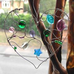 Green and Purple Heart - a beaded suncatcher | Flickr - Photo Sharing!
