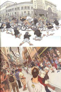 "cyclocosm: ""californiastreaming: "" Giro d'Italia illustrations by Katsuhiro Otomo, the author of Akira. "" I love the processo alla tappa-style Mario spot. """