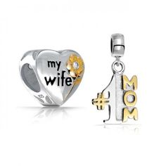 My Wife Heart Two Tone Number 1 Mom Dangle Charm Bead Set Fits Pandora  #Fashion, #Jewelry, #JewelryCharms, #OverstockJeweler
