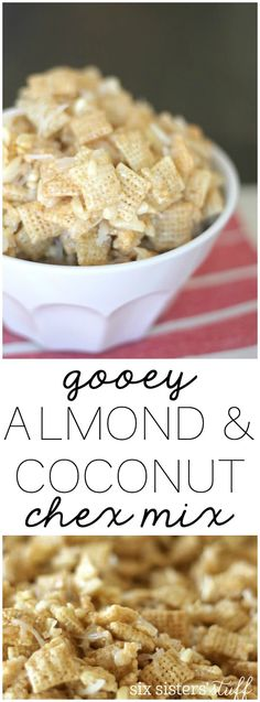 Almond and Coconut Chex Mix Gooey Almond and Coconut Chex Mix from . Perfect for holiday parties or neighbor gifts!Gooey Almond and Coconut Chex Mix from . Perfect for holiday parties or neighbor gifts! Snack Mix Recipes, Yummy Snacks, Yummy Treats, Sweet Treats, Yummy Food, Snack Mixes, Chex Recipes, Candy Recipes, Dessert Recipes