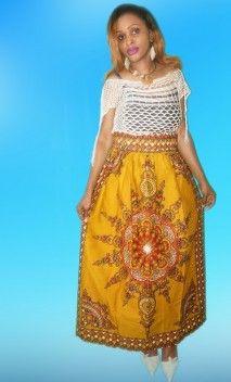 Mustard brown African emblem dashiki print maxi skirt