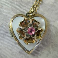 Vintage RHINESTONE HEART LOCKET Necklace  Mother of Pearl Pink Rhinestone Locket Sterling Gold Fill 1950s