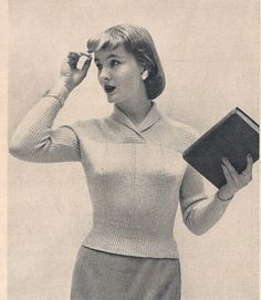 Ribbed Yoke Pullover Sweater Knitting Pattern  This pattern contains directions to knit the pullover shown above. The vintage 1950s, from McCalls, pullover sweater is varied with a crosswise ribbing, baby cables. The yoke folds back for collar. This is an attractive design, just a bit different than the usual.