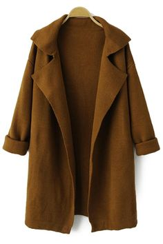 Solid Color Long Sleeve Lapel Cardigan