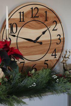 Wall Clock Numbers, Handmade Clocks, Distressed Walls, Hickory Wood, Wood Clocks, Large Clock, Types Of Wood, Wood Wall, Decorative Items