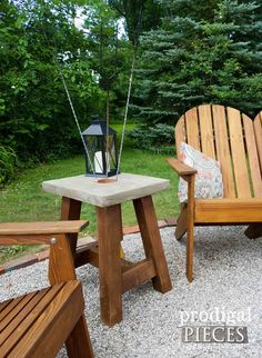 Concrete Table for Fire Pit with Roasting Stick Holder. DIY Build Plans by Prodigal Pieces | prodigalpieces.com