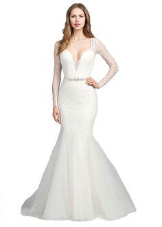 96b5ba0e2cf Kelaixiang Lace Mermaid Wedding Dresses with Long Sleeves Bridal Gowns at Amazon  Women s Clothing store