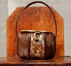 vintage octagonal box pony skin handbag. $100.00, via Etsy.