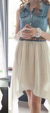 Denim Stitching Chiffon Dress