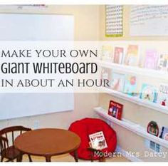 How to make your own giant whiteboard, in about an hour, for cheap. #diy This would be awesome for a homeschool or homework area!