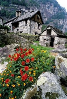 Old stone houses in between rocks, Foroglio, Bavona Valley, Tessin, Switzerland