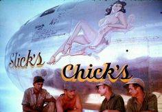 "Boeing B 29 Super Fortress ""Slick Chicks"" Nose Art, Military Art, Military History, Aircraft Painting, Airplane Art, Vintage Airplanes, Aviation Art, Pin Up Art, Woman Painting"