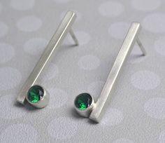 Minimal Gemstone Earrings Select Your Gemstone Sterling