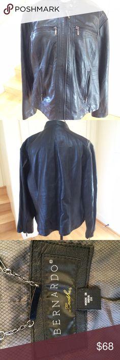 Bernardo, 2X moto leather jacket Bernardo, 2X, genuine black leather  jacket with zipped pockets and arms. Was purchased at Nordstrom, gently worn 4-5 times. Bernardo Jackets & Coats