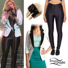 Demi Lovato performed at Endfest wearing the shiny black Disco Pants from American Apparel ($82.00) with a white tuxedo-style blazer. I'm not sure where she got her exact blazer, but Charlotte Russe and Alloy sell inexpensive similar options. You can get similar mini fingerless gloves for $34.00 at Patricia Field.