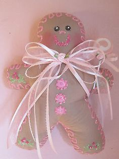 CoLLecTiBLe SHABBY PINK*Glittered* GINGERBREAD BOY ChrisTMas w/ LOLLIPOPOrNaMeNT